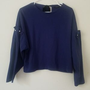 Zara Boxy Crop Pearl Sleeve Top